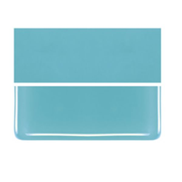 Bullseye Turquoise Blue - Opaleszent - 2mm - Thin Rolled - Fusing Glas Tafeln