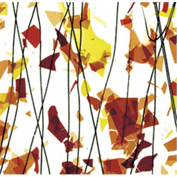 Bullseye AUTUMN: Orange, Yellow & Red on Clear Base - Collage - 3mm - Single Rolled - Fusing Glas Tafeln