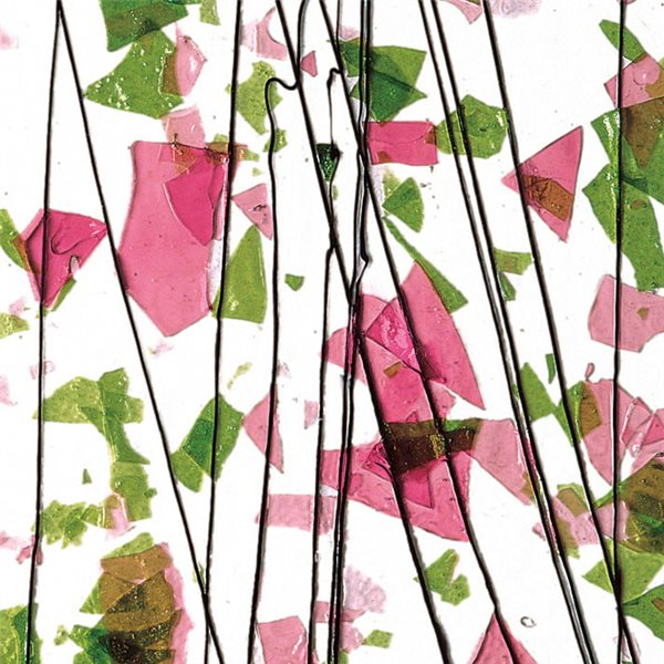 Bullseye Spring Green & Deep Pink on Clear Base - Collage - 3mm - Single Rolled - Fusible Glass Sheets