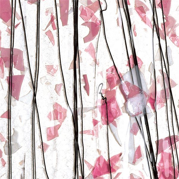 Bullseye Deep Pink, Light Pink & White on Clear Base - Collage - 3mm - Single Rolled - Fusible Glass Sheets