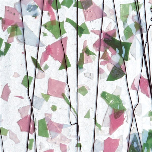 Bullseye Light Pink, Green & White on Clear Base - Collage - 3mm - Single Rolled - Fusible Glass Sheets