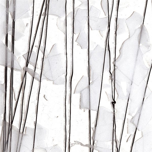 Bullseye White & Black Streamers on Clear Base - Collage - 3mm - Single Rolled - Fusible Glass Sheets