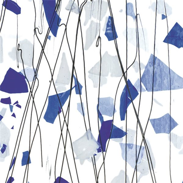 Bullseye Blue & White on Clear Base - Collage - 3mm - Single Rolled - Fusible Glass Sheets