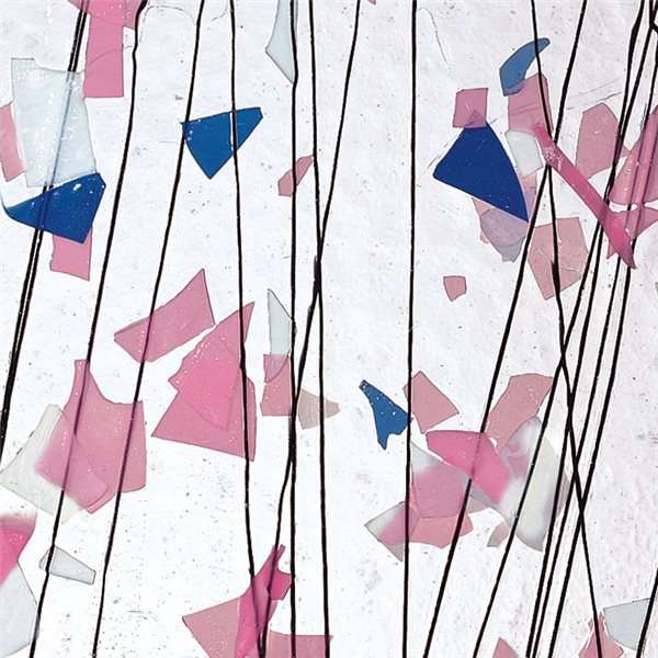 Bullseye Light Pink, Blue & White on Clear Base - Collage - 3mm - Single Rolled - Fusible Glass Sheets