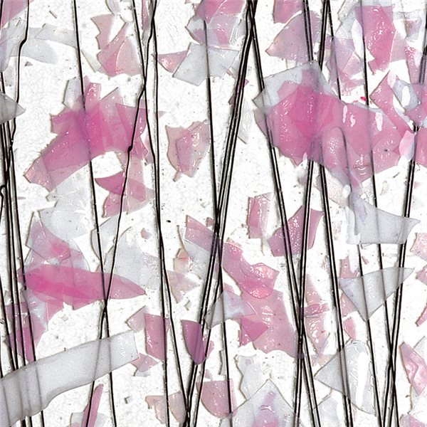 Bullseye Light Pink & White on Clear Base - Collage - 3mm - Single Rolled - Fusible Glass Sheets