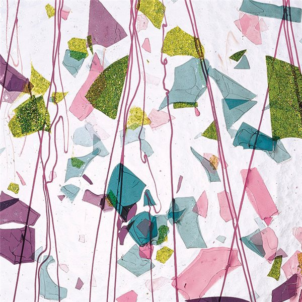 Bullseye Pink, Plum, Green & Aqua on Clear Base - Collage - 3mm - Single Rolled - Fusible Glass Sheets