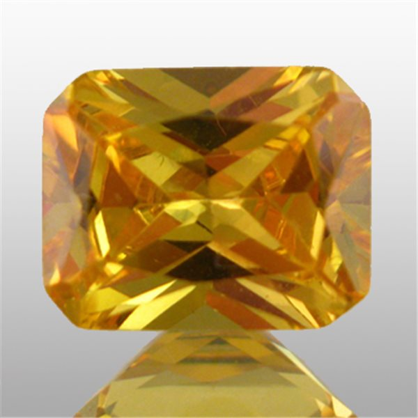 Cubic Zirconia - Yellow - Emerald - 9x7mm - 1pc