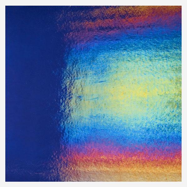 Bullseye Carribean Blue - Transparent - Rainbow Iridescent - 3mm - Fusible Sheet Glass