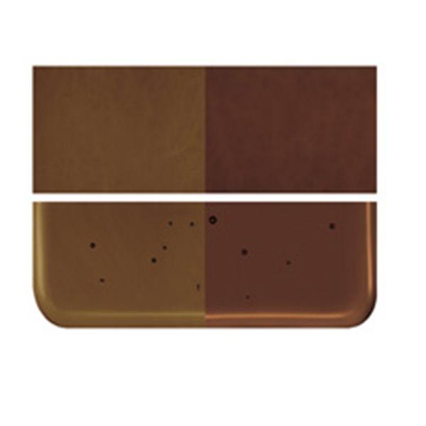 Bullseye Dark Rose Brown - Transparent - 2mm - Thin Rolled - Plaque Fusing