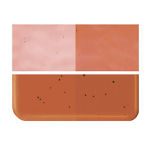 Bullseye Sunset Coral - Transparent - 2mm - Thin Rolled - Plaque Fusing