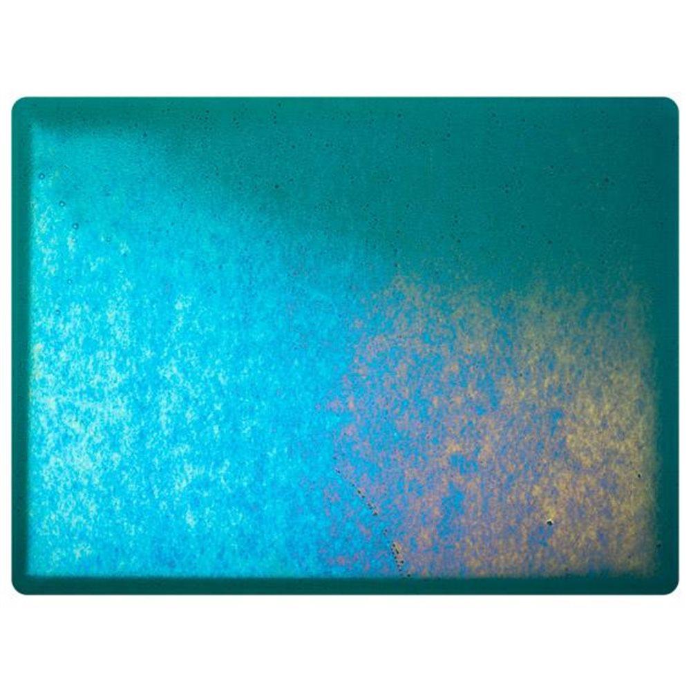 Bullseye Peacock Blue - Transparent - Rainbow Irid - 3mm - Fusing Glas Tafeln
